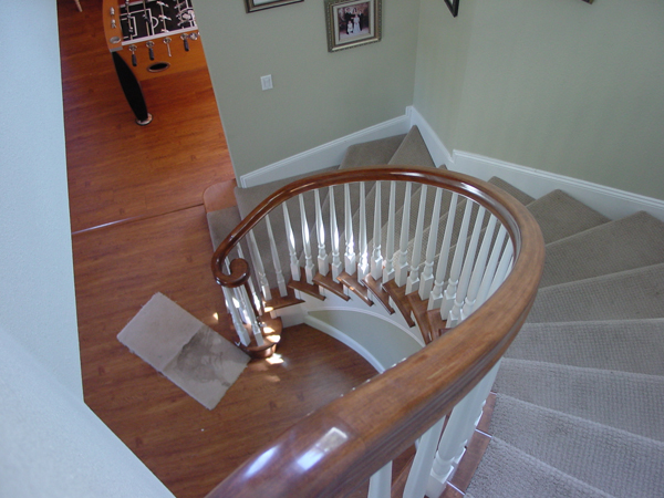 Red Oak railing with painted turned balusters